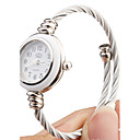 金属ロープの腕時計ストラップ付きクォーツ時計 - 白い顔