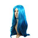 capless kvalitní syntetický dlouhý modrý kostým strana paruka