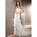 Lan Ting Trumpet/Mermaid Plus Sizes Wedding Dress - Ivory Chapel Train Strapless Taffeta
