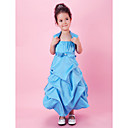Lanting nevjesta ® a-linije / lopta haljina čaj duljine cvijet girl haljina - satena bez rukava špageti trake withbow (s)