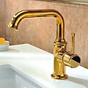 Rustico Installazione centrale Una manopola Un foro in Ti-PVD Lavandino rubinetto del bagno