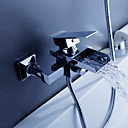 現代風 バスタブとシャワー 滝状吐水タイプ with  セラミックバルブ シングルハンドル二つの穴 for  クロム , 浴槽用水栓