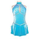Klizačke haljine Žene Bez rukava Skating Haljine i suknje Umjetničko klizanje prerušiti Spandex Plav klizanje WearSeksi blagdanski