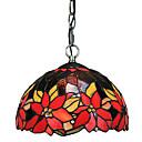 60W 1 - Svjetlo Tiffany privjesak svjetlo sa staklenom hladu crvenim cvjetovima uzorkom