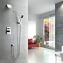 Současné Sprchový systém Vodopád Včetne sprchové hlavice with  Keramický ventil Single Handle pěti jamkách for  Pochromovaný , Sprchová