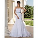 Lanting Bride Trumpet/Mermaid Petite / Plus Sizes Wedding Dress-Court Train Strapless Lace