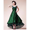A 라인 플러스 크기 / 신부 드레스 몸집이 작은 어머니를 lanting - 진한 녹색 비대칭 짧은 소매 쉬폰 / 태 피터를