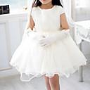 -line kratki rukav mini dužina tila i šifona cvijet girl haljina s biserima