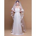 Vjenčani velovi One-tier Katedrala Burke Čipka aplicirano Edge Scalloped Edge 106.3 u (270cm) Til Bijela SlonovačaRetka, Ball haljina,