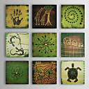 Ručně malované Abstraktní / Zvíře Více než pět panelů Plátno Hang-malované olejomalba For Home dekorace