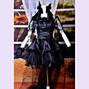 ワンピース/ドレス ゴスロリータ ロリータ コスプレ ロリータドレス ブラック レース 半袖 ミドル丈 ドレス / ヘッドピース / グローブ / ボウ / テール のために 女性 サテン