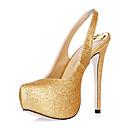 Damenschuhe - Sandalen - Kleid / Büro - Glanz - Stöckelabsatz - Absätze / Fersenriemen - Schwarz / Silber / Gold
