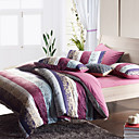 Morden Purple Stripe With Flower Flannel Full / Queen / King 4-Piece Duvet Cover Set