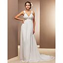 Lanting Bride® Pouzdrové Drobná / Nadměrné velikosti Svatební šaty - Elegantní & moderní Průsvitné Velmi dlouhá vlečka Do V Šifón s