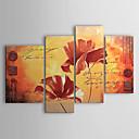 Ručně malované Květinový/Botanický motiv Čtyři panely Plátno Hang-malované olejomalba For Home dekorace