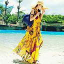 ビーチ スウィング ドレス,プリント マキシ ノースリーブ イエロー 夏 伸縮性なし 薄手