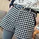 SUYISODA Skinny Cotton Check Shorts