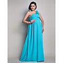 Lanting Bride® Na zem Šifón Šaty pro družičky - Pouzdrové Jedno rameno Těhotenské s Nabírání / Květina(y)