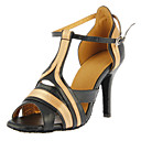 Customizable Women's Dance Shoes Latin/Ballroom Satin/Leatherette Customized Heel Black