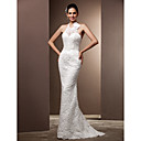 Lanting Bride Trumpet/Mermaid Petite / Plus Sizes Wedding Dress-Sweep/Brush Train Halter Lace