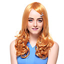 Capless Tope Grade Quality Synthetic Long Curly Orange Hair Wigs