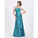 Lanting Bride® Na zem Taft Šaty pro družičky - Mořská panna Bez ramínek / Stažený Větší velikosti / Malé sKvětina(y) / Boční řasení /