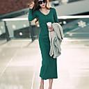 Dámské výstřih s dlouhým rukávem Bodycon Midi šaty
