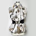 kožešina vesta bez rukávů, stojací límeček králičí kožešiny strana / Casual vesta s náhodným pásem
