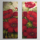 手描きの 花柄/植物の 2枚 キャンバス ハング塗装油絵 For ホームデコレーション