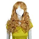 キャップレスの高品質合成ロング波状ゴールデンブロンドFashionalの髪かつら