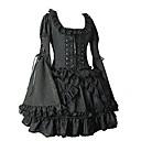 Dlouhý rukáv Krátký Flare Black Cotton Gothic Lolita šaty