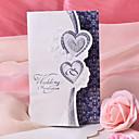 """Non-personalizaton Tri preklopa Vjenčanje Pozivnice Pozivnice-50 Piece / Set Srce Style Pearl papira 7 1/2 """"x 6 1/4"""" (19 * 13.5cm)"""