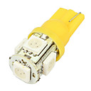 Merdia T10 1.2W 70-Lumen 5 SMD LED Auto žluté žárovky (Pair / DC 12V)-LEDD004T10A5S3