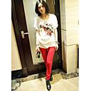 Fashiongirl Ženska Pearl Žene Voditelj cvjetni print bijelu pamučnu majicu