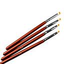 4KS Brown Handle Acrylic Nail Art Pen Brush