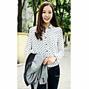 婦人向け シャツ シャツカラー 水玉 ブルー / ホワイト / ブラック 長袖