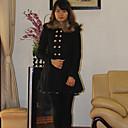 Cvjetni Ljubav Moda krznenim ovratnikom Solid Color Tweed Dlaka (crna)