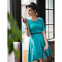 TS Jednostavnost Round Collar Pola rukav Swing Dress
