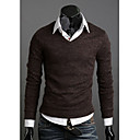 T & L Casual V Neck Long Sleeve Pletené věci (Coffee) Z8982