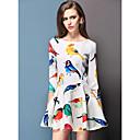 DOWISI Ženska Sweet Girl Pan ovratnikom Color Block Spring Dress