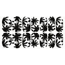 12PCS Black White Coconut Tree Světelné Nail Art Samolepky
