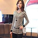 ShiBeiNi Ženska Jednostavno Round Collar Stripes Slim T Shirt (Kaki, bijela)
