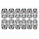 12PCS Bílý tygr vzor Světelný Nail Art Samolepky