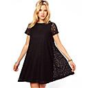 Maxlove女性のシンプルなバトーAラインブラックレースルーズフィットのドレス