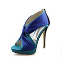 Sandály - Satén / Elastický satén - Podpatky - Dámská obuv - Modrá - Svatba - Vysoký