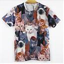 Pánské Tisk Denní nošení Krátký rukáv Polyester Triko-Vícebarevné