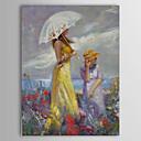 Ručně malované Lidé Vertikálně Jeden panel Plátno Hang-malované olejomalba For Home dekorace
