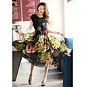Královna módy Dámská Korean Slim Big Swing dlouhé šaty (Black)