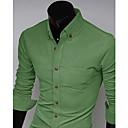Lidové Aowofs Pánské Plná barva pláště Long Sleeve Shirt 7602 zelená