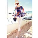 JiaSiMing Set: kulatý límec krátký rukáv Stripes Topy a dlouhé Solid Color kalhoty (barevná obrazovka)